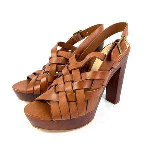 Vince Camuto Elyza Sandal Women 8.5 Brown Leather